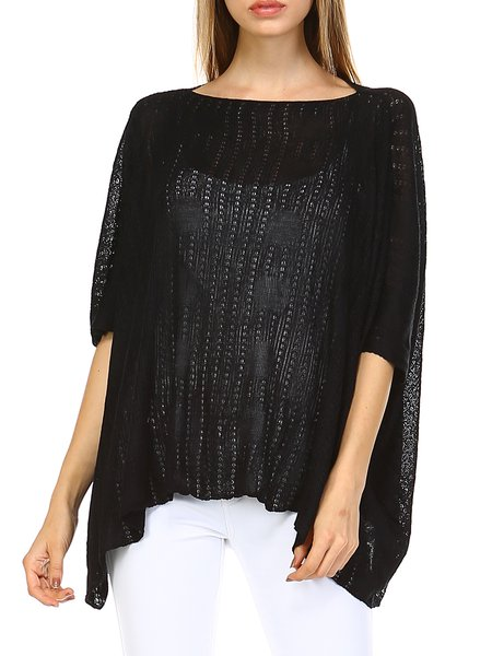 Black Batwing Knitted Asymmetrical Tunic