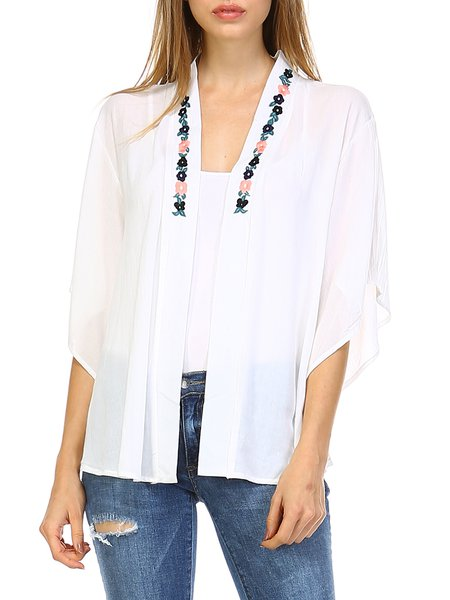 White Batwing Plain H-line Floral-embroidered Kimono