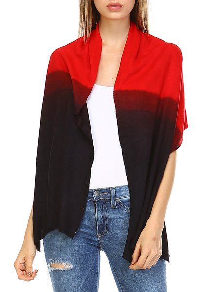 Black Functional Button Gradient Sleeveless H-line Poncho