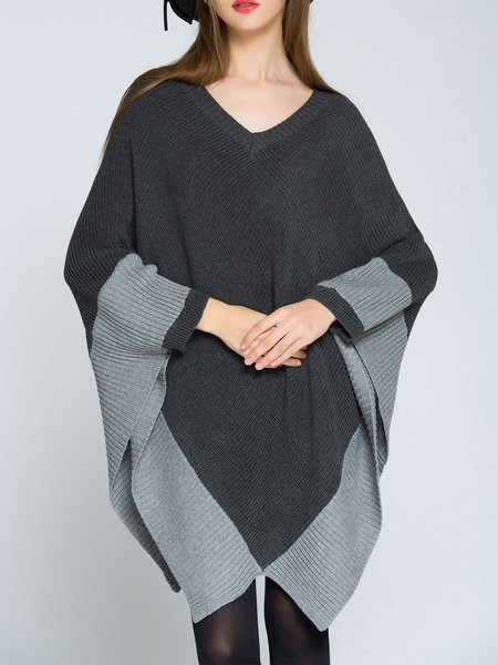 Solid V Neck Cape Sleeve Asymmetric Sweater