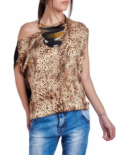 Brown One Shoulder Short Sleeve Leopard Print Printed Blouse