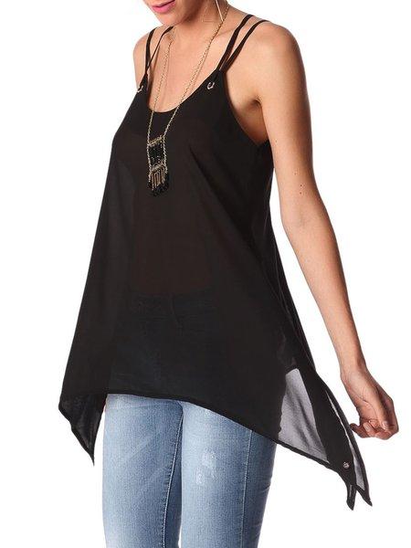 Black Asymmetrical Casual Plain Polyester Cami