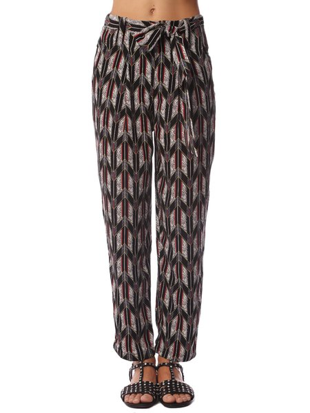 Black Casual Polyester Printed Straight Leg Pants