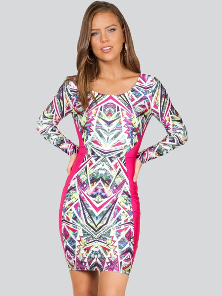 Fuchsia Bodycon Cocktail Abstract Mini Dress
