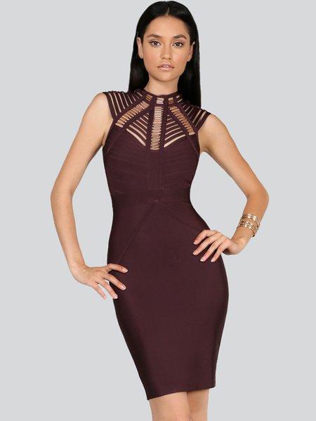 Brown Bodycon Stand Collar Sexy Bandage Mini Dress