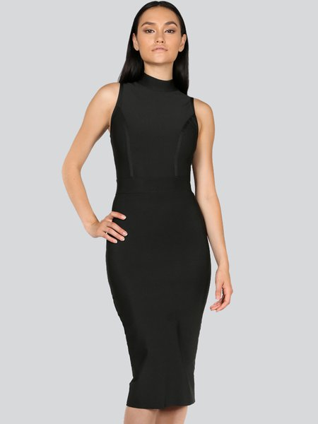 Black Plain Bandage Sleeveless Stand Collar Midi Dress