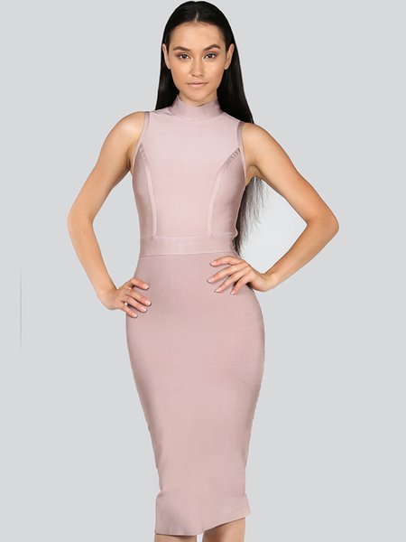 Pink Bandage Sleeveless Midi Dress