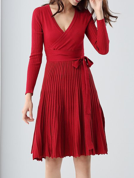 Red Long Sleeve Cotton Pleated Midi Dress