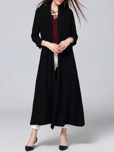 Black Casual H-line Plain Cardigan