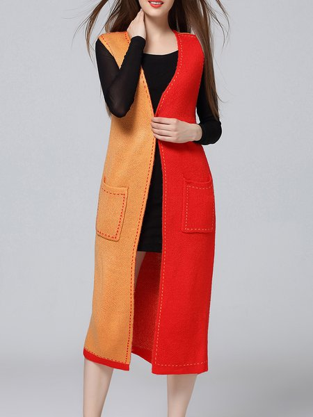 Orange Color-block Long Sleeve Cardigan