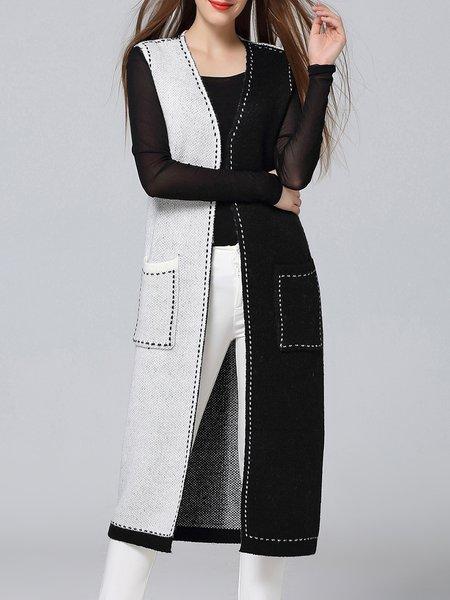 Long Sleeve Color-block Casual Cardigan