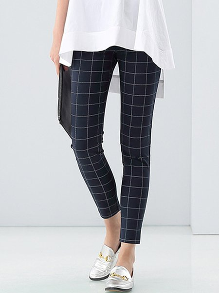 Black Cotton Casual Skinny Leg Pants