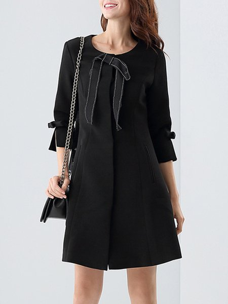 Bow Casual Crew Neck Cotton-blend Frill Sleeve Coat