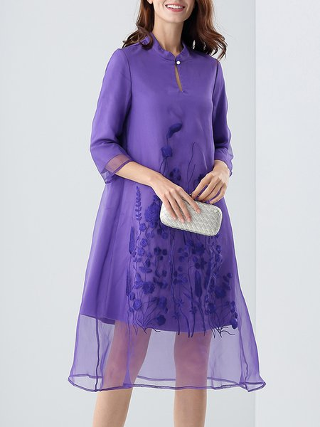 A-line Elegant Embroidered 3/4 Sleeve Silk Midi Dress