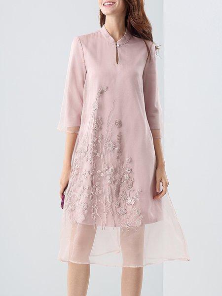 Pink Stand Collar A-line Floral Elegant Midi Dress