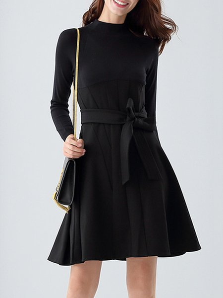 Black A-line Plain Cotton-blend Midi Dress