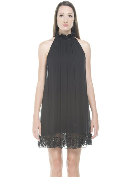 Black Beaded Sleeveless Stand Collar Mini Dress
