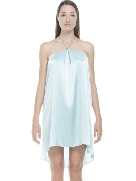 Light Blue High Low Elegant Mini Dress