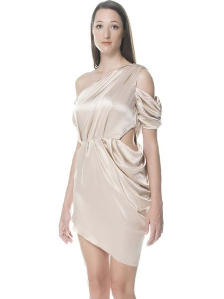 Elegant Single Sleeve Plain One Shoulder Mini Dress