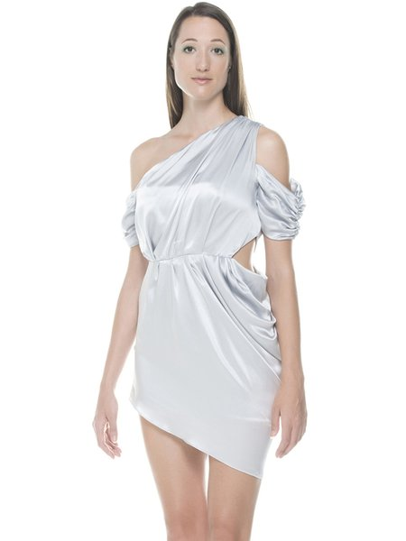 Light Blue Satin Single Sleeve Asymmetrical Plain Mini Dress