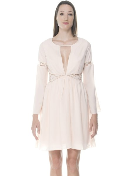 Beige Long Sleeve Plain Cutout A-line Mini Dress