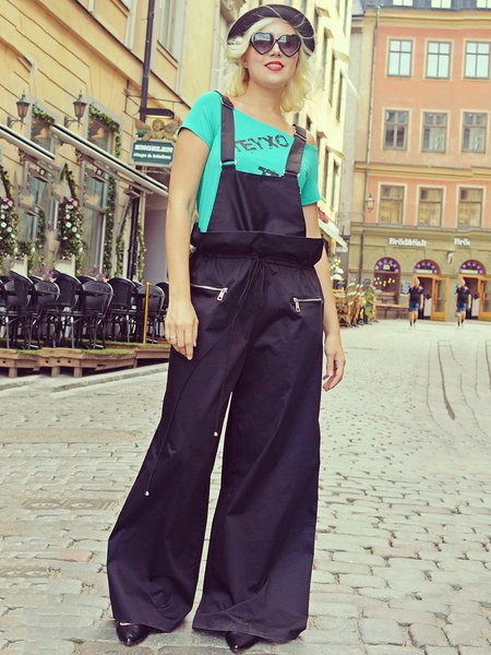 Black Viscose Pockets Casual Jumpsuit