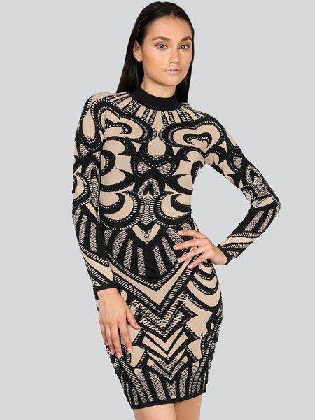 Black Bandage Knitted Abstract Elegant Mini Dress