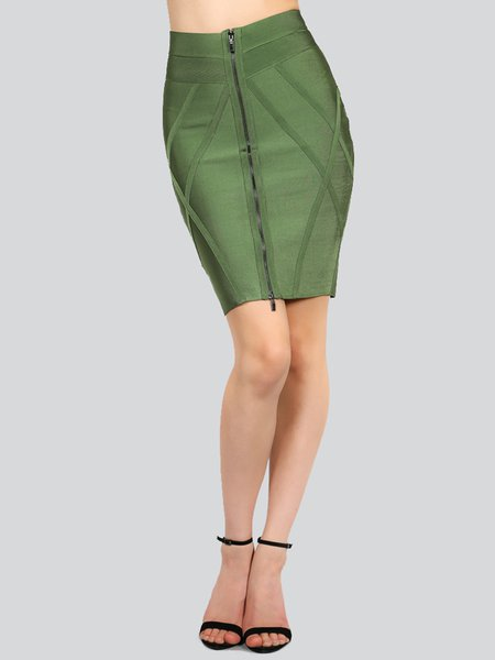 Olive Green Elegant Bandage Mini Skirt