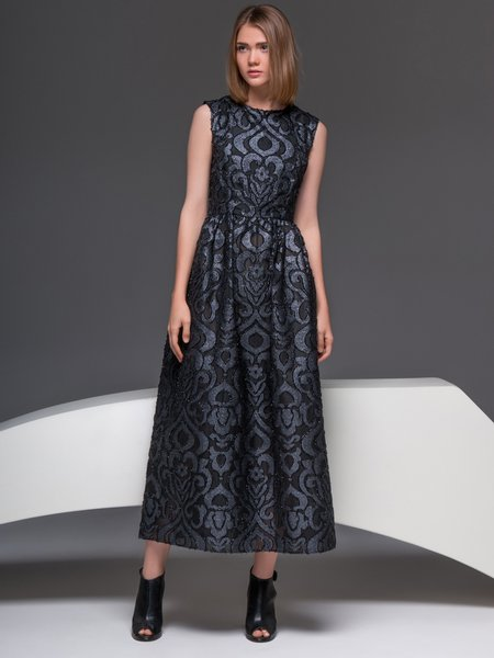 Elegant Jacquard Silk-blend A-line Sleeveless Midi Dress
