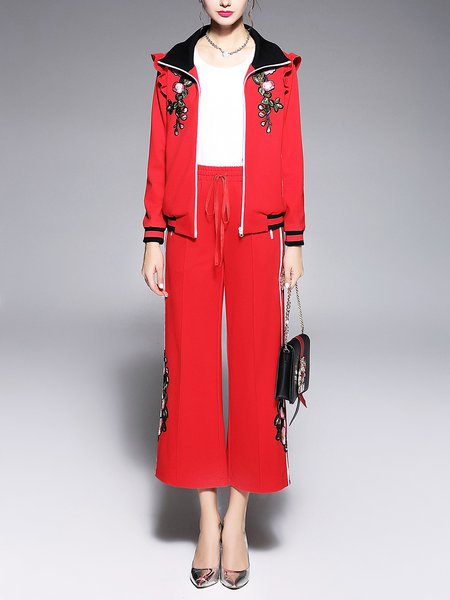 Red Floral-embroidered Casual Two Piece Top With Pants
