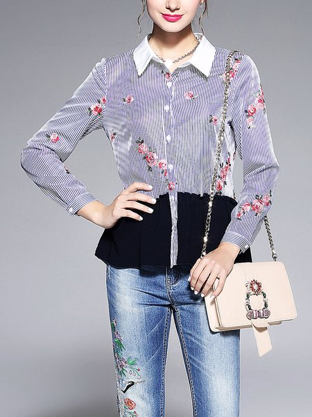 Shirt Collar Long Sleeve Floral-embroidered Striped Casual Blouse