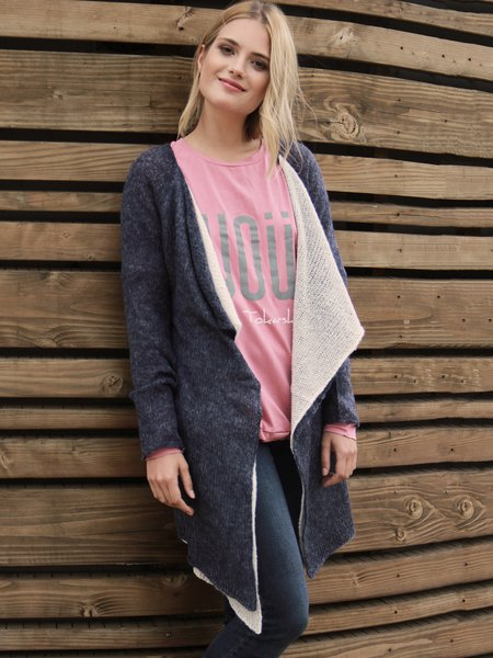 Navy Blue Long Sleeve Paneled Asymmetrical Cardigan