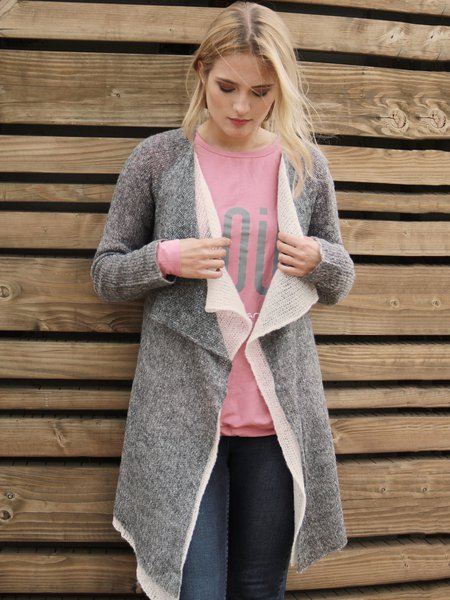 Gray Long Sleeve Paneled Asymmetrical Knitted Cardigan