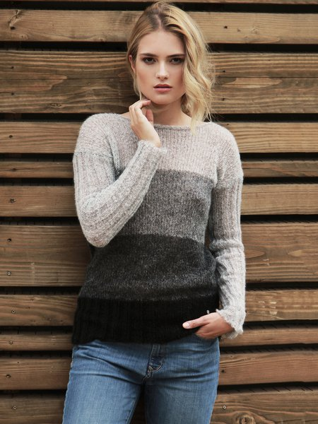 Black H-line Crew Neck Color-block Long Sleeved Top