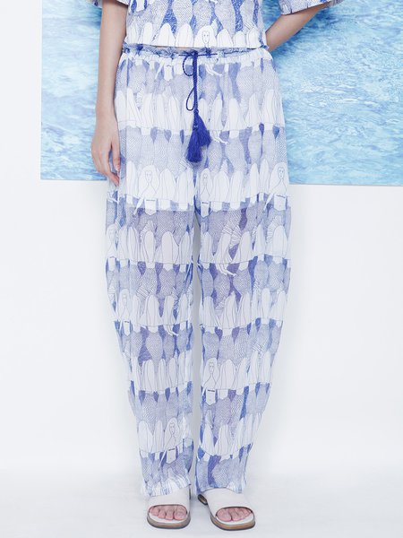 Blue Abstract Polyester Casual Wide Leg Pant