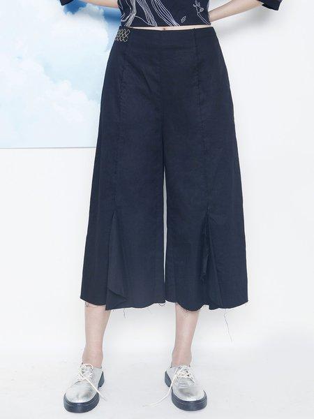 Black Casual H-line Plain Wide Leg Pant