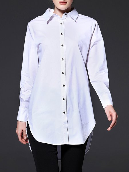 White Long Sleeve Cotton H-line Blouse