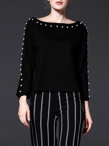 Frill Sleeve H-line Elegant Beaded Sweater