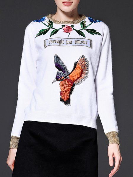 White Elegant H-line Embroidered Sweater