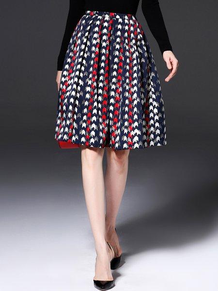 Multicolor Jacquard Long Sleeve A-line Midi Skirt