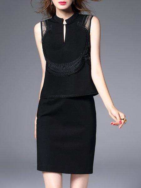 Black Embroidered Crew Neck Plain Elegant Mini Dress