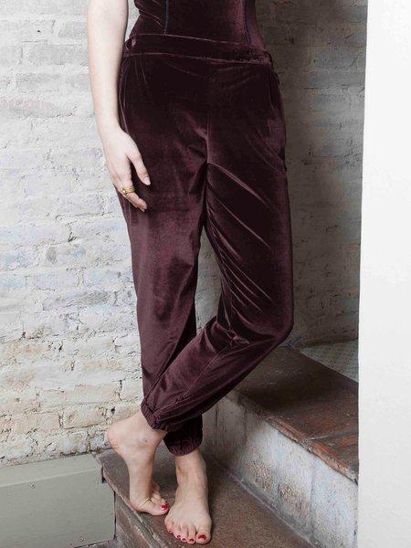Brown H-line Plain Casual Velvet Track Pant