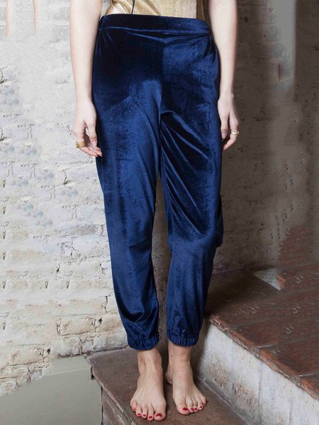 Navy Blue Plain Velvet Casual Track Pant