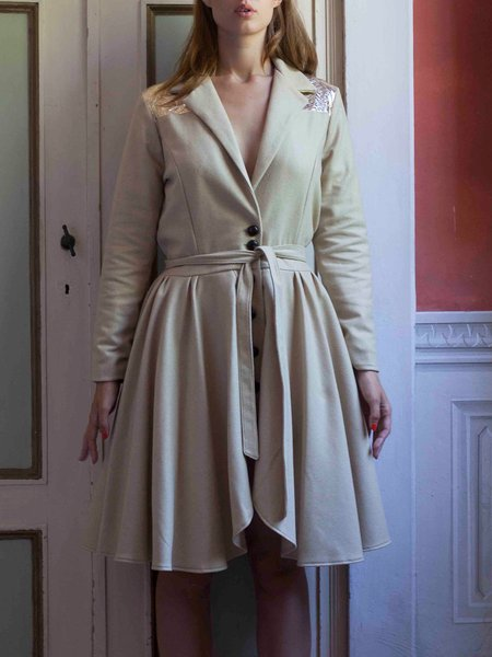 Golden Cashmere Lapel Elegant Coat