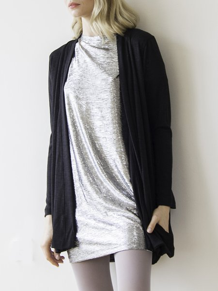 Black H-line Plain Casual Pockets Cardigan