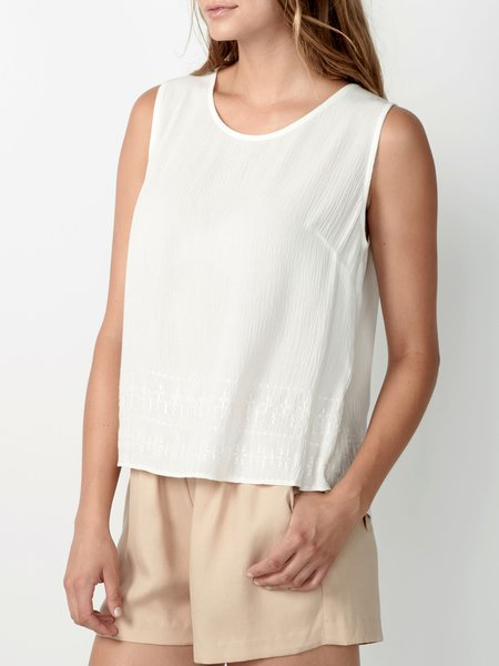 Cream H-line Sleeveless Embroidered Rayon Tanks And Cami