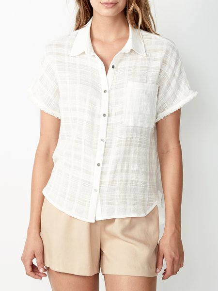 Cream Checkered/Plaid Cotton Short Sleeve H-line Blouse