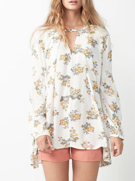 Beige Floral-print H-line Resort Tunic