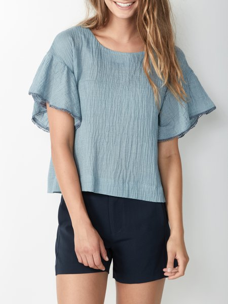 Frill Sleeve Crew Neck Casual Blouse