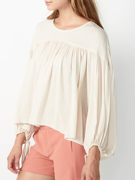 Crew Neck Gathered Sweet Balloon Sleeve Blouse